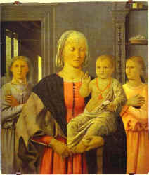 Piero della Francesca. Virgin with Child Giving His Blessing and Two Angels. (The Senigallia Madonna)